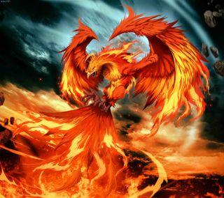 Обои на телефон шторм, феникс, птицы, огонь, магия, крылья