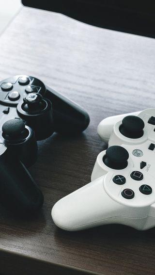 Обои на телефон черные, белые, playstation, joystick