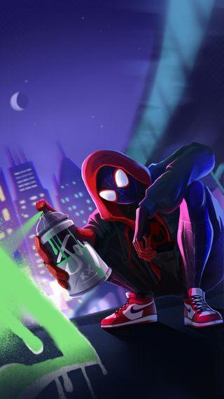 Обои на телефон человек паук, спрей, рисунки, марвел, майлз, spray paint, miles spray paint, marvel