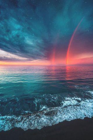 Обои на телефон берег, радуга, океан, небо, красочные, земля, закат, галактика, вселенная, ocean magnificence, galaxy