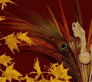 Обои на телефон павлин, перо, осень