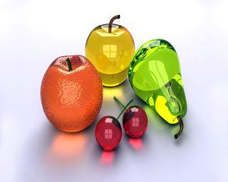 Обои на телефон фрукты, эпл, оранжевые, pear, cherries, apple, 3д, 3d fruits