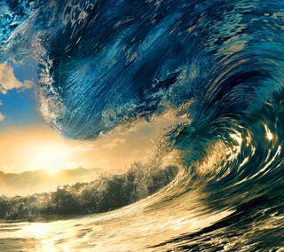 Обои на телефон волна, солнце, океан, вода