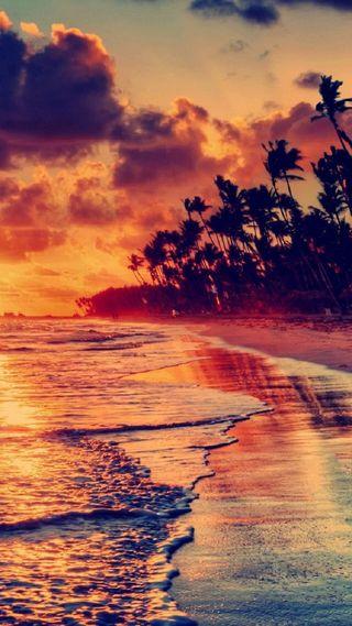 Обои на телефон волны, природа, пляж, огонь, облака, закат, вид, sunset beach view