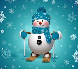 Обои на телефон снежинки, снеговик, рождество, милые, лыжи, зима, 3д, 3d