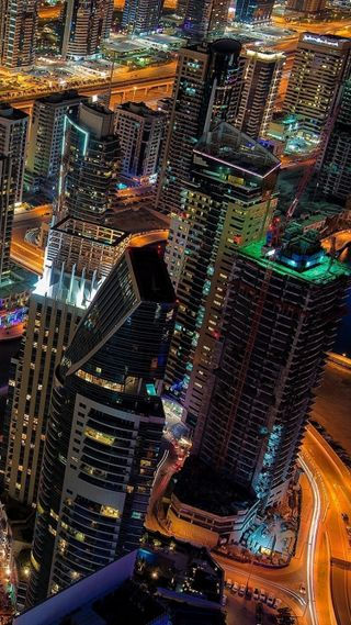 Обои на телефон архитектура, улица, свет, огни, ночь, новый, город