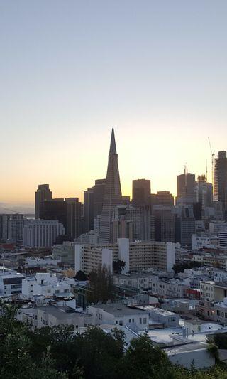 Обои на телефон мост, здания, горизонт, восход, skyline, sf skyline