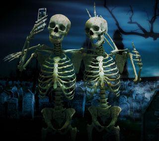 Обои на телефон скелет, друзья, skeleton friends, selfi