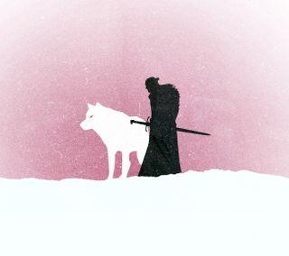 Обои на телефон старк, тв, снег, розовые, игра, волк, белые, got