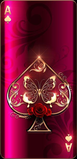 Обои на телефон туз, сверкающие, прекрасные, красые, карты, золотые, бабочки, spade