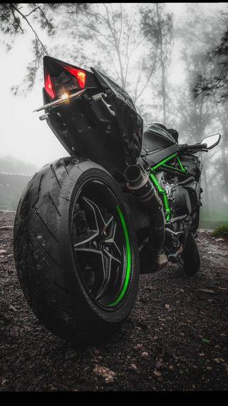 Обои на телефон зверь, ниндзя, мотоцикл, зеленые, гоночные, racebikes, h2r, h2