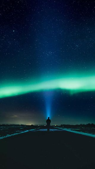 Обои на телефон аврора, пейзаж, огни, ночь, небо, космос, звезды
