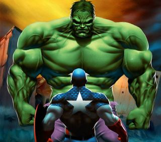 Обои на телефон капитан, халк, супергерои, рисунки, мультфильмы, мстители, игра, зеленые, голливуд, америка, hulk captain america