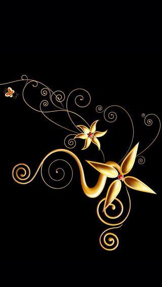 Обои на телефон золотые, цветы