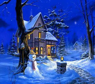 Обои на телефон дом, счастливое, снег, рождество, ночь, зима