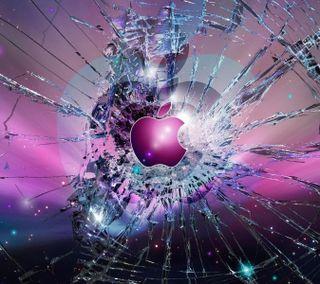 Обои на телефон эпл, экран, фиолетовые, треснутые, символ, логотипы, икона, айфон, iphone, cracked screen apple, cracked screen, apple
