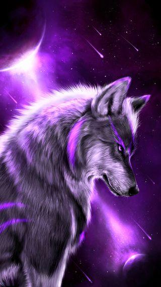 Обои на телефон фиолетовые, фантазия, планета, космос, звезды, животные, волк