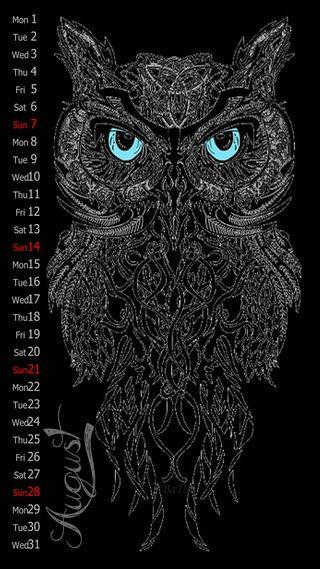 Обои на телефон календарь, сова, синие, месяц, летучая мышь, август, august 2016, 2016
