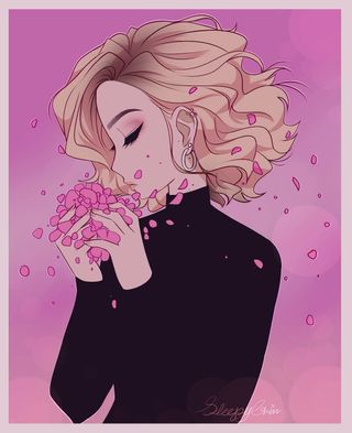 Обои на телефон лепестки, эстетические, цветы, розовые, девушки, аниме