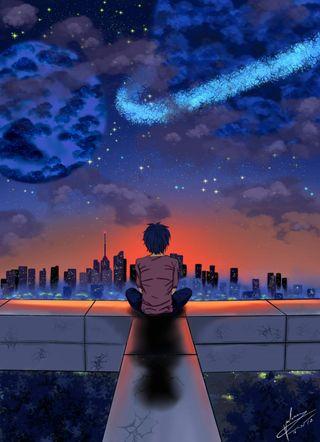 Обои на телефон city at night, star light, planetary sunset, небо, ночь, звезды, закат, город, звезда, свет, одиночество, планеты