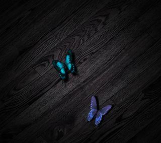 Обои на телефон цвет морской волны, фиолетовые, стол, дерево, бабочки, абстрактные, hd, butterflies-2160x192