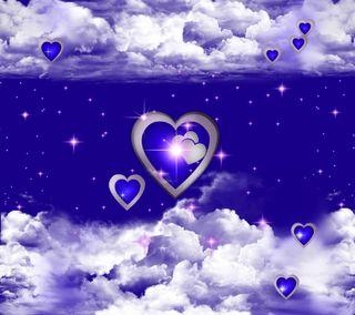 Обои на телефон валентинка, сердце, праздник, облака, hearts in clouds 3