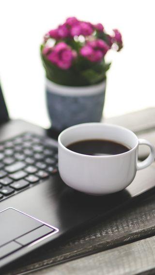Обои на телефон работа, цветы, утро, ноутбук, место, кофе, жизнь, work place, still life, coffee and laptop