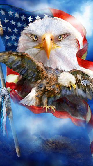 Обои на телефон орел, флаг, сша, птицы, перо, облака, горы, usa