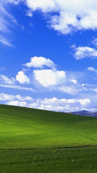 Обои на телефон холмы, природа, поле, небо, xp, windows, bliss