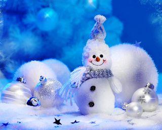 Обои на телефон год, снеговик, снег, синие, рождество, праздник, зима, звезда, боке, seasonal