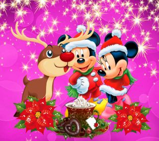 Обои на телефон рождество, мультики, микки, маус, дисней, 1440x1280px, erry christmas, disney