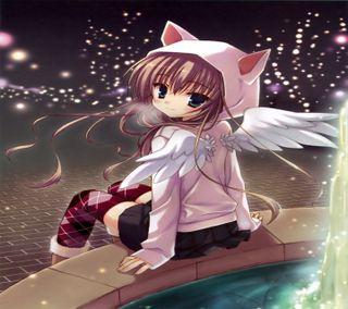 Обои на телефон крылья, розовые, милые, котята, девушки, аниме, ангел