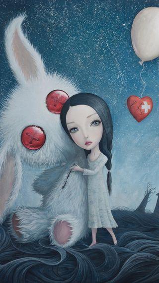 Обои на телефон кролики, ты, тедди, сломанный, сердце, мечта, медведь, любовь, картина, девушки, арт, now you are safe, love, art