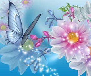 Обои на телефон сверкающие, бабочки, цветы, природа