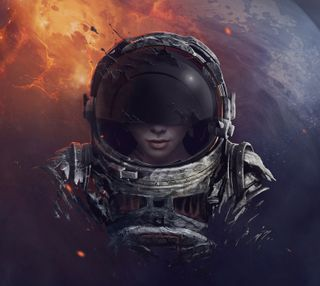 Обои на телефон космонавт, девушки, girl astronaut, ghzd, dfhcv