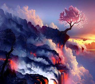 Обои на телефон естественные, цветные, утес, природа, прекрасные, облака, новый, красочные, закат, дерево, hd beautiful cliff