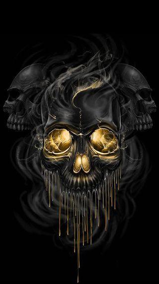 Обои на телефон череп, золотые, skull gold