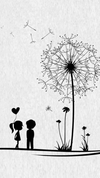 Обои на телефон пара, сердце, одуванчик, любовь, love