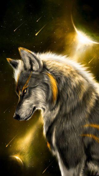 Обои на телефон фантазия, облака, луна, космос, животные, волк