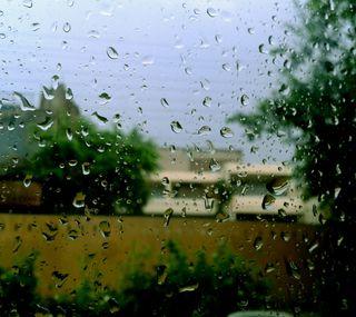 Обои на телефон окно, стекло, природа, капли, дождь, день, вид, hd