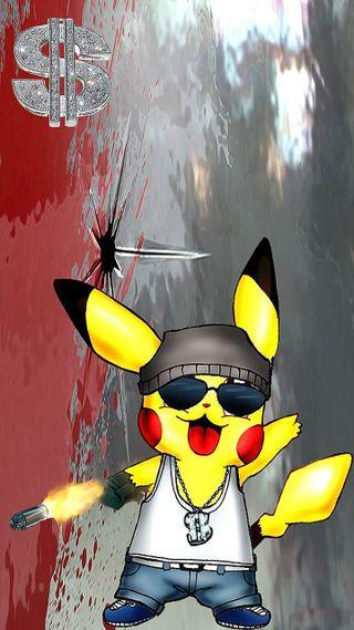 Обои на телефон пикачу, покемоны, гангстер, gangster pikachu