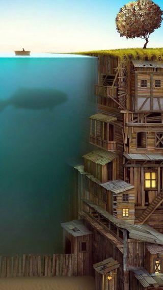 Обои на телефон деревянные, океан, картина, дизайн, город, арт, ocean wooden city, art