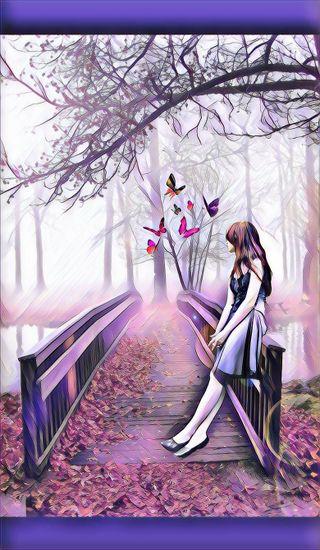 Обои на телефон дерево, цветы, фиолетовые, симпатичные, прекрасные, женщина, девушки, арт, pretty wallpaper, flower tree, art