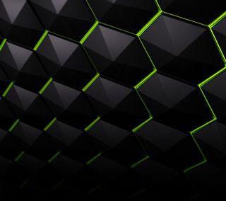 Обои на телефон щит, шаблон, черные, плитка, зеленые, shield tiles, nvidia, hex