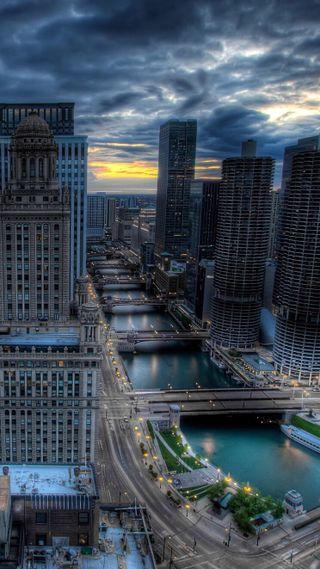 Обои на телефон штормовой, облачно, темные, небоскребы, город