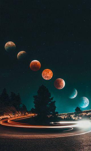 Обои на телефон дороги, приятные, машины, луна, красочные, классные, закат, дорога