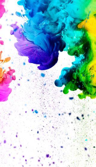 Обои на телефон абстрактные, белые, цветные, радуга, брызги, жидкость