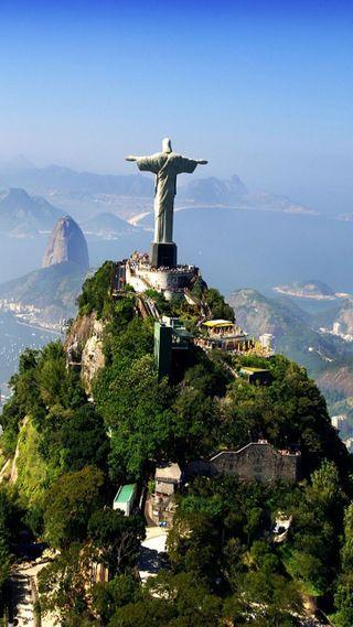 Обои на телефон бразилия, горы, corcovado