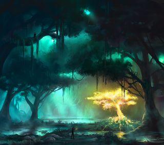 Обои на телефон растения, фантазия, лес, дерево, абстрактные