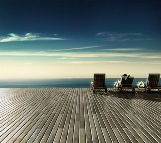 Обои на телефон взгляд, приятные, море, закат, горизонт, берег, chair